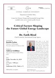 Invitation Public Lecture Fatih Birol, IEA